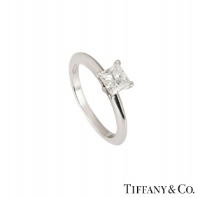 Tiffany & Co. Platinum Princess Cut Diamond Ring 0.71ct G/VVS1